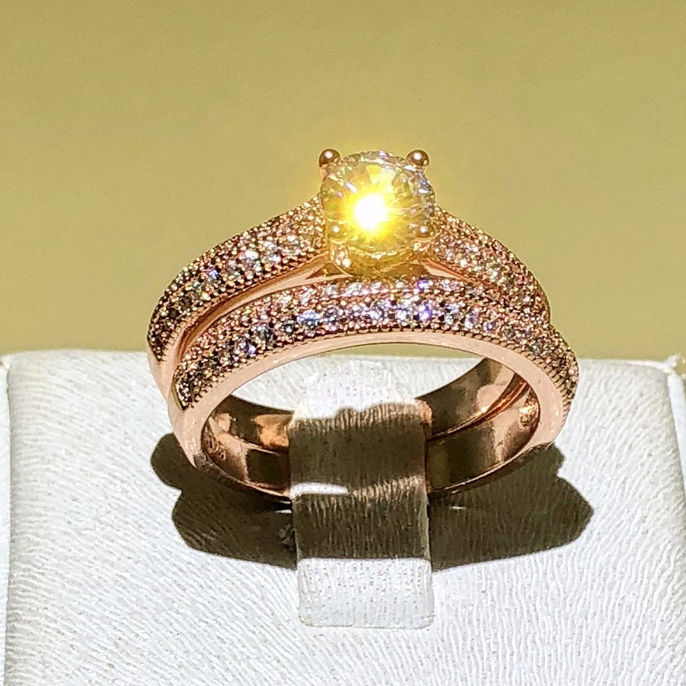 Fine Jewelry Solitaire Wedding Ring for Women Love Forever 925 Silver Rose Gold Color CZ anillos mujer Stacking Rings SetFine Jewelry Solitaire Wedding Ring for Women Love Forever 925 Silver Rose Gold Color CZ anillos mujer Stacking Rings Set