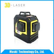 Freeshipping! фукуда, MW-936T 3D 12 Линии лазерный уровень, красный Лазерный уровень, Самовыравнивающийся 360 Горизонтальных, Вертикальных Кросс Супер Мощный