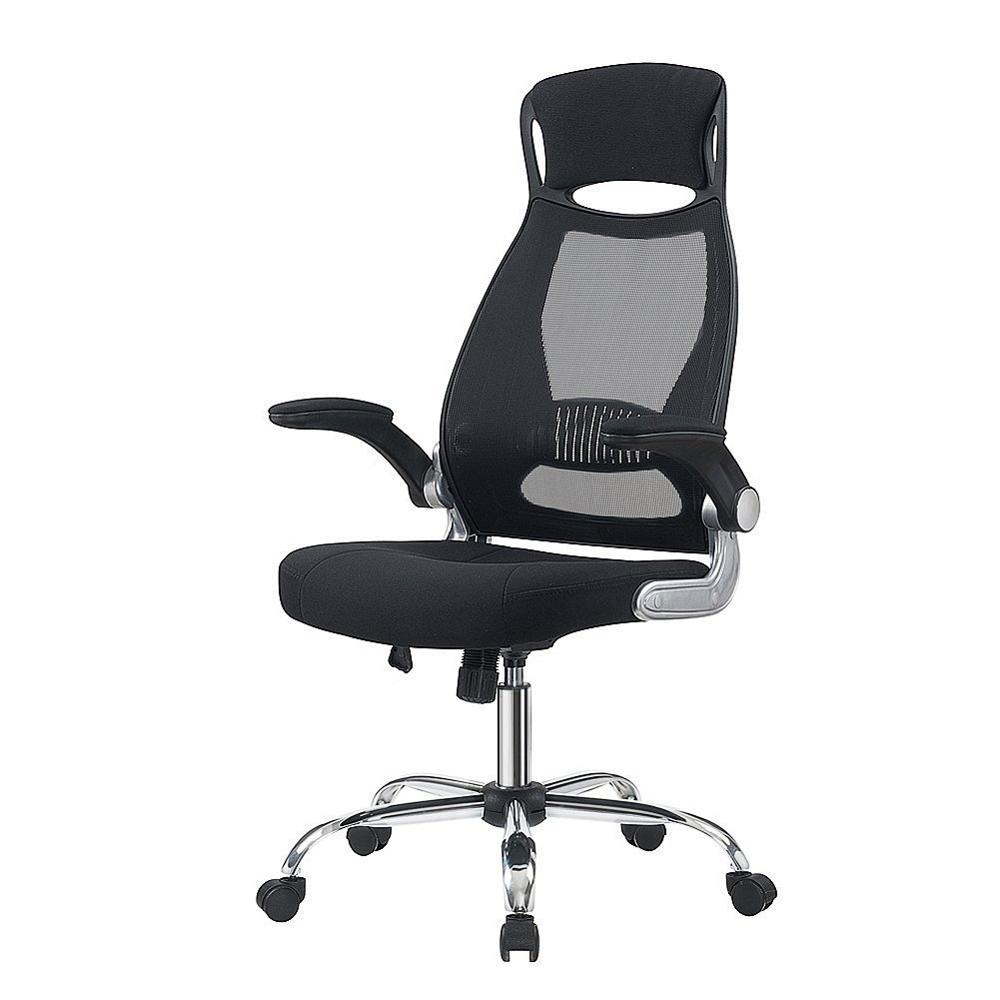 Office Executive Chair Black Ergonomic Swivel Mesh Task Chair High Back Padded Desk Chair With Foldable Armrest Head Support GB