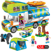 534pcs City Outing Camper Bus Car Girls Figures Building Blocks Compatible Legoed Friends Bricks Educational Toys for Girls