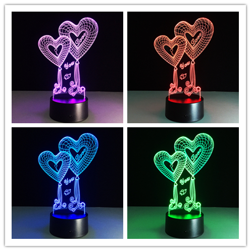 New novelty lamp Creative love 3D nightlight LED USB lamps romantic Christmas lover's gifts Kids gift Valentine's Day souvenir