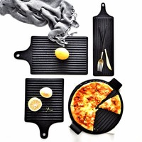 Creative Ceramics Stripe Pizza Stones Large Rectangle And Round Pizza Tray Bakeware Porcelain Sushi Cake Tool