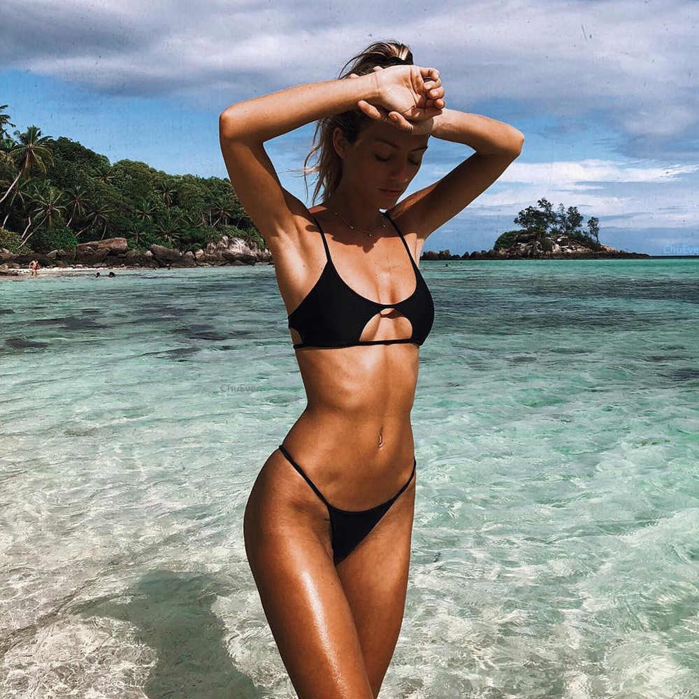 d9b4f8a9b7b7b 2019 Woman girl Swimsuit String Bikini Set Two-piece Suits Black and Red  Solid Micro