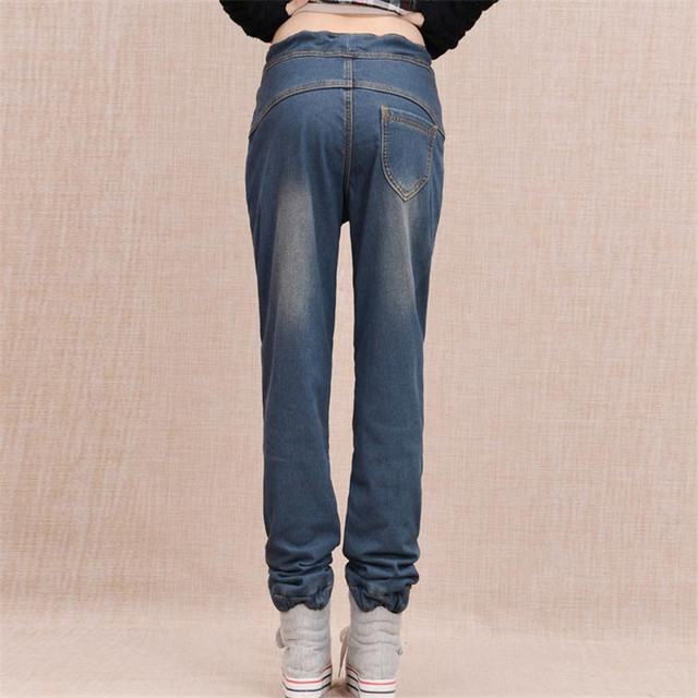 Arrival Winter Warm Jeans Women Thicken Fleece Skinny Harem Pants Trousers Elastic Waist Denim Trousers Plus Size Pants C1504 3