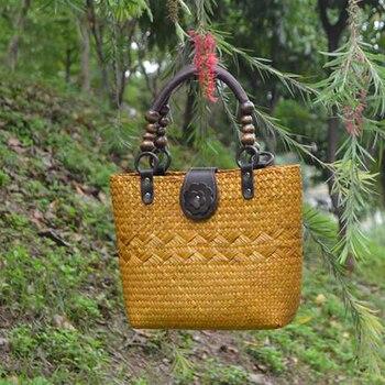 ¡Nueva versión tailandesa de 2020! Bolso de paja hecho a mano, bolso de playa de estilo retro a la moda de ratán, bolso de playa de estilo europeo y americano.