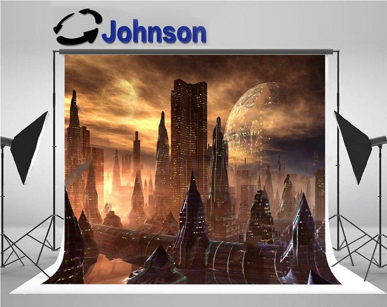 alien super city skyline planet backgrounds Vinyl cloth High quality Computer print party backdrops