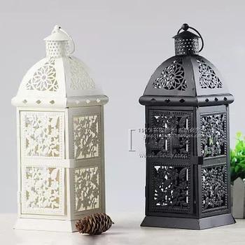 European iron window grille hollow light lanterns home decoration ornaments wedding road lead candlestick birthday gift