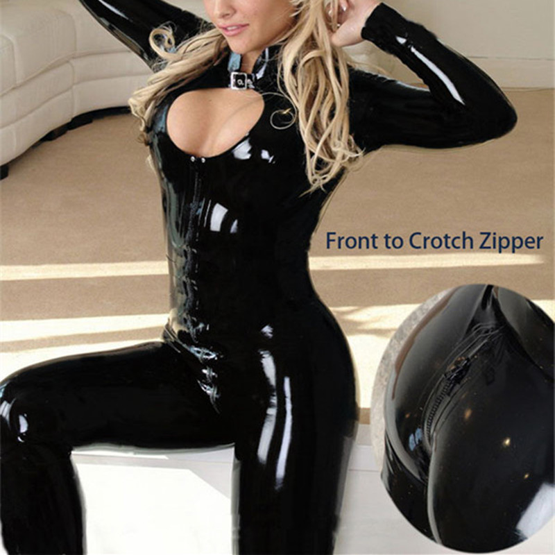 Buy M-XXL 2016 Sexy Black Catwomen Jumpsuit Latex PVC Catsuit Costumes Dance Women Body Suits Fetish Leather DS Game clothes