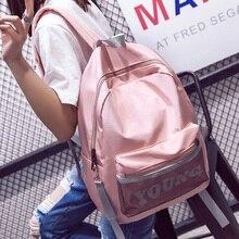 Модные женские туфли письмо молодых рюкзак для девочек-подростков Нейлон Школьная Сумка женский чистый прилив Mochila Escolar Водонепроницаемый Kanken Bookbag
