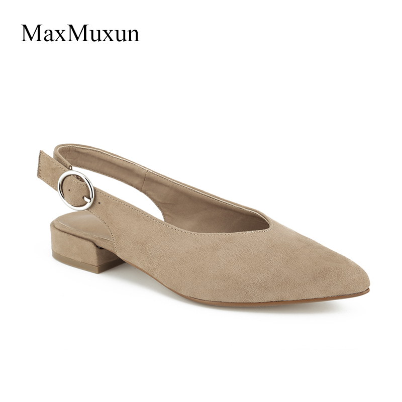 MaxMuxun Shoes Woman Classic Low Thick Block Heels Dress Slingback Pumps Pointed Toe Mary Janes Square Ankle Strap Causal Shoes new fashion thick heels woman shoes pointed toe shallow mouth ankle strap thick heels pumps velvet mary janes shoes