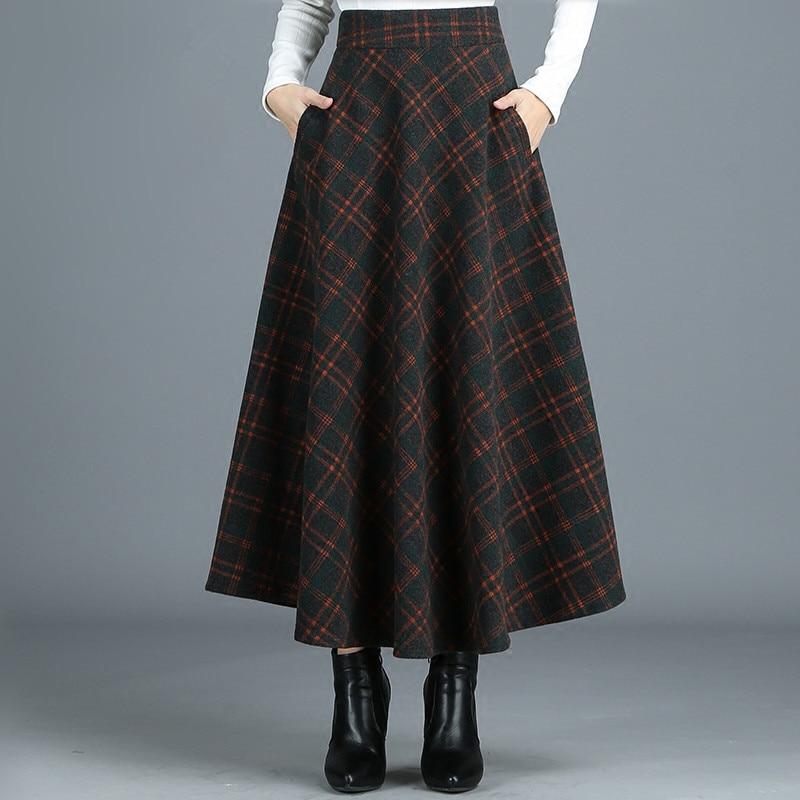 S-4XL New Women's Wool Blends Skirts Winter Autumn 2019 Fashion Elegant Printed Plaid Thicken Slim Medium Length Skirt Female