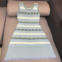 Luxury Designer Brand Knitted Dress for Women Vintage O Neck Seashell Wavy Stripes Sleeveless Hollow Out A Line Mini Dress