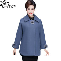 UHYTGF Fashion Women Winter Woolen Coat thick Short Outerwear female Luxury wool coat Elegant ladies Loose plus size jacket 1220