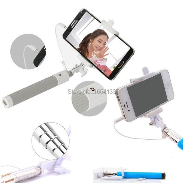 Newest Folding Selfie Stick Monopod With Audio Cable Wired palo selfie pau de selfie universa