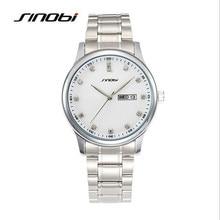 SINOBI Hombres de la Marca de Moda de Lujo Rhinestone Reloj de pulsera de Acero Inoxidable Calendario Impermeable Reloj de Cuarzo Relogio masculino 9578