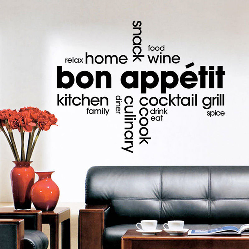 Bon Appetit Wall Stickers Quotes Waterproof Kitchen Wall Tile Stickers Vinyl Art Words Murals