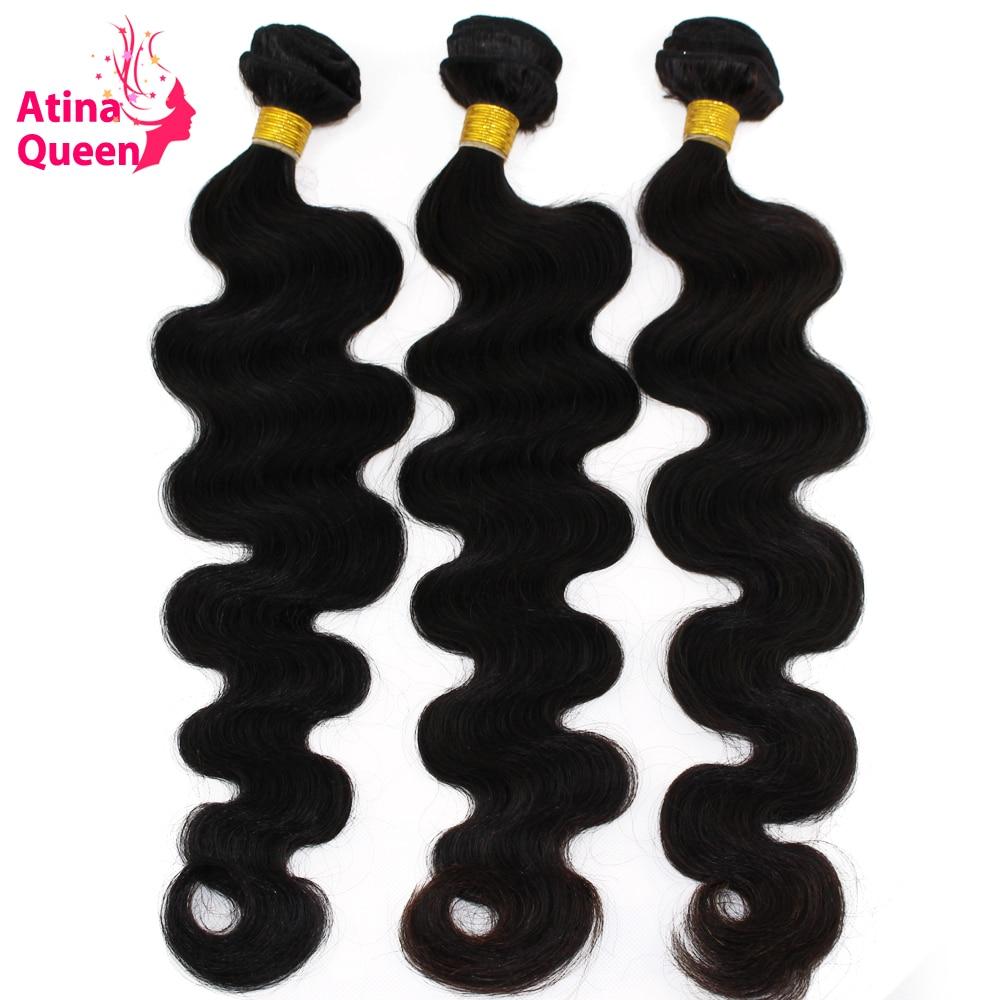 Atina Queen Hair Products Peruvian Body Wave Virgin Hair Weave 3 Bundles lot 100 Human Hair