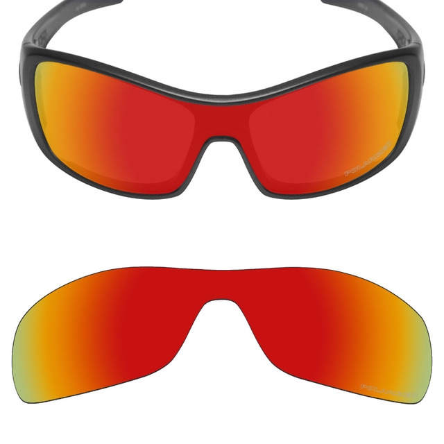 5c8103a4fcd Mryok+ POLARIZED Resist SeaWater Replacement Lenses for Oakley Antix  Sunglasses Fire Red