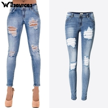 75e1ce8fd8f8 Witsources women summer pencil pants low waisted slim skinny pencil jeans  ripped holes heavy washing casual