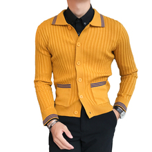 Осень-зима новый бутик Мода Полосатый Для мужчин нагрудные Кардиган вязаный свитер/контраст Для мужчин; облегающий Повседневный свитер куртка