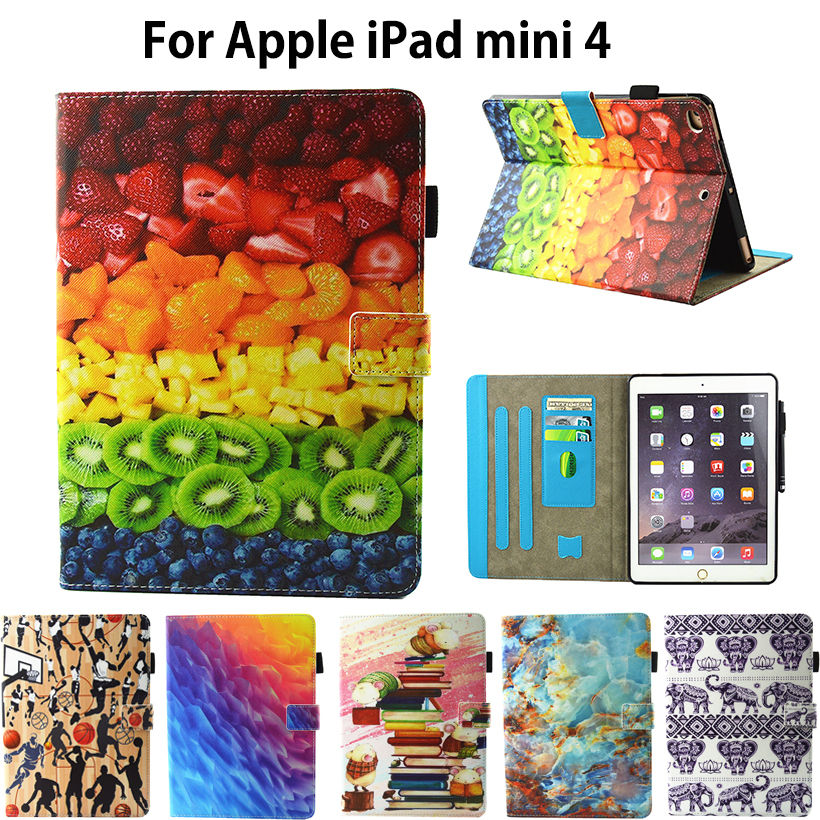 Fashion Cartoon Pattern Flip Cover For Apple iPad Mini 4 mini4 Case Covers Funda Tablet Soft TPU Silicone PU Leather Stand Shell floveme 7 9 mini4 transparant slim thin cover for apple ipad mini 4 case soft silicone gel crystal clear back funda cases