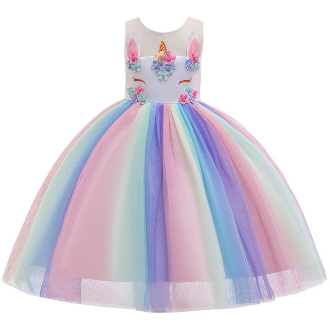 Unicorn Rainbow Embroidery Princess Dress