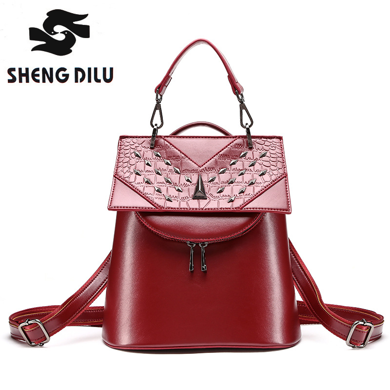 HOT shengdilu brand 2017 new genuine leather backpack fashion Rivet mochila women shoulder bag 17009