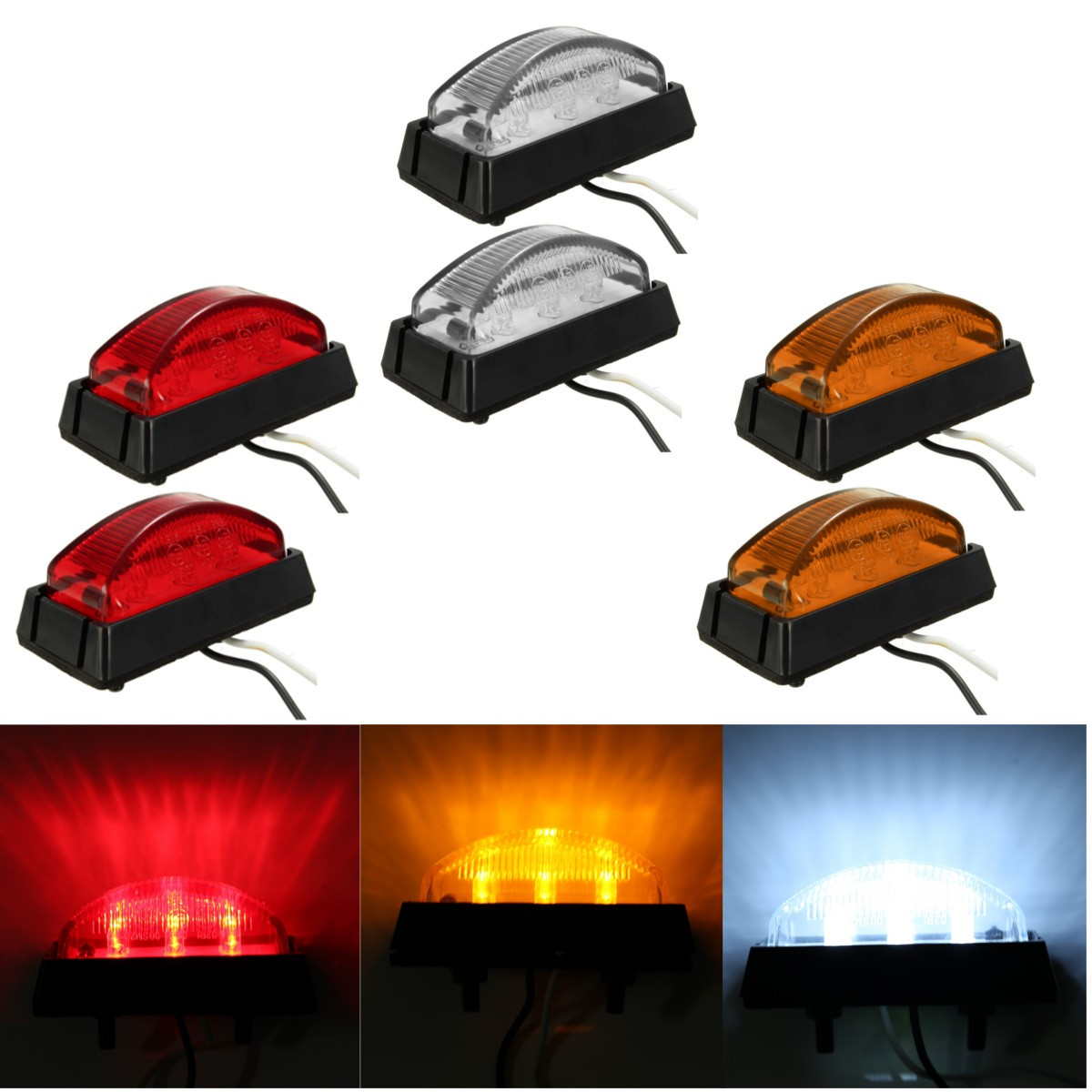 6LED Red White Amber 6 LED Clearence Truck Bus Trailer Side Marker Indicators Light Lamp Lorry Caravan 12V 24V E4 10pcs 6 led red white green blue yellow amber clearence car truck bus lorry trailer side marker indicators light lamp 12v 24v