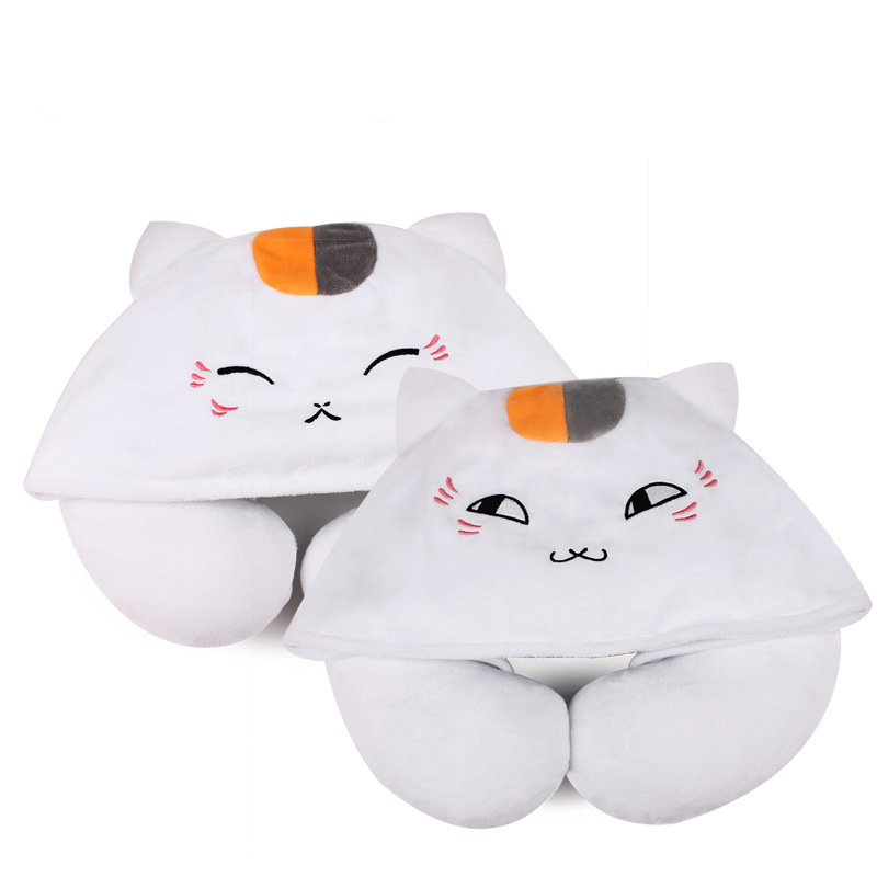 1pcs Cartoon Animals U Shaped Neck Pillow with Hat Nyanko Sensei Portable Travel Hooded Pillow Support Head Rest Neck Cushion neck support nap pillow