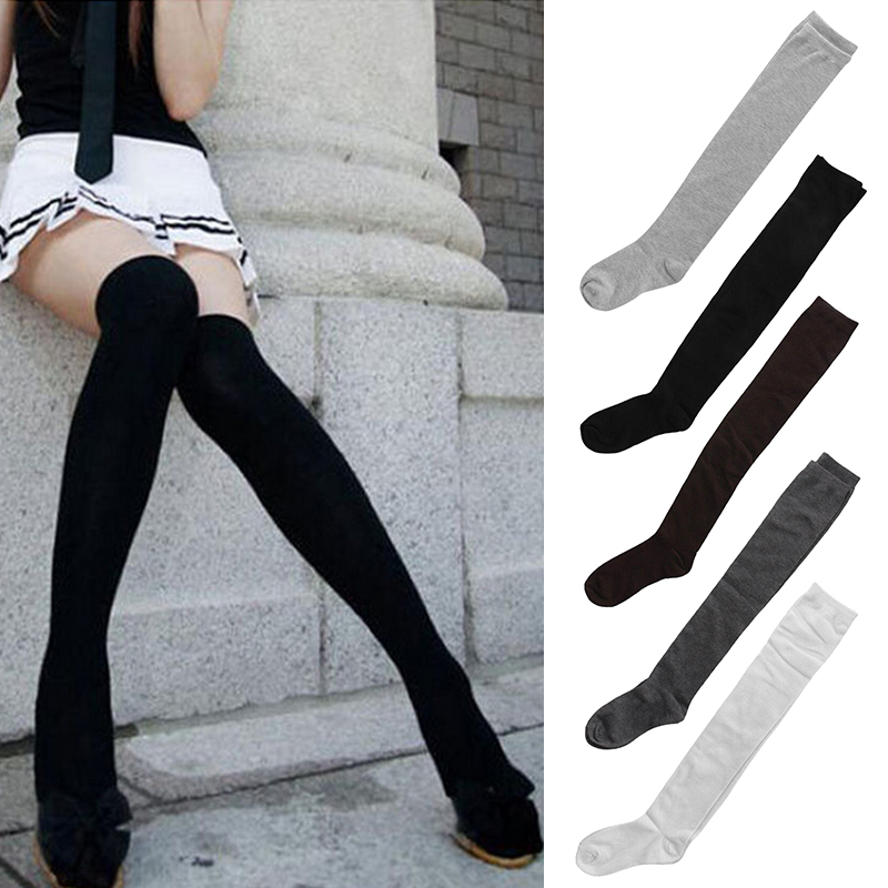 d8fd3d5f07 US $2.72 30% OFF|Sexy Women Girls Cotton Stocking Warm Thigh High Over The  Knee Socks Ladies Fashion Solid Colors Leg Warmers Long Sock Medias-in ...