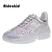 2019 new ladies crystal thick-bottom Hong Kong style casual shoes increased sneakers sponge cake rhinestone