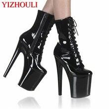 Seksowne buty damskie na wysokim obcasie cavalier, czarne jesienne i zimowe buty damskie o wysokości 20 cm, buty trekingowe na scenie bankietowej