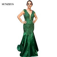 Mermaid Green Dress Wedding Mother Bride Sexy Deep V neck Backless Women Party Gowns Appliques Lace Women Dinner Dresses
