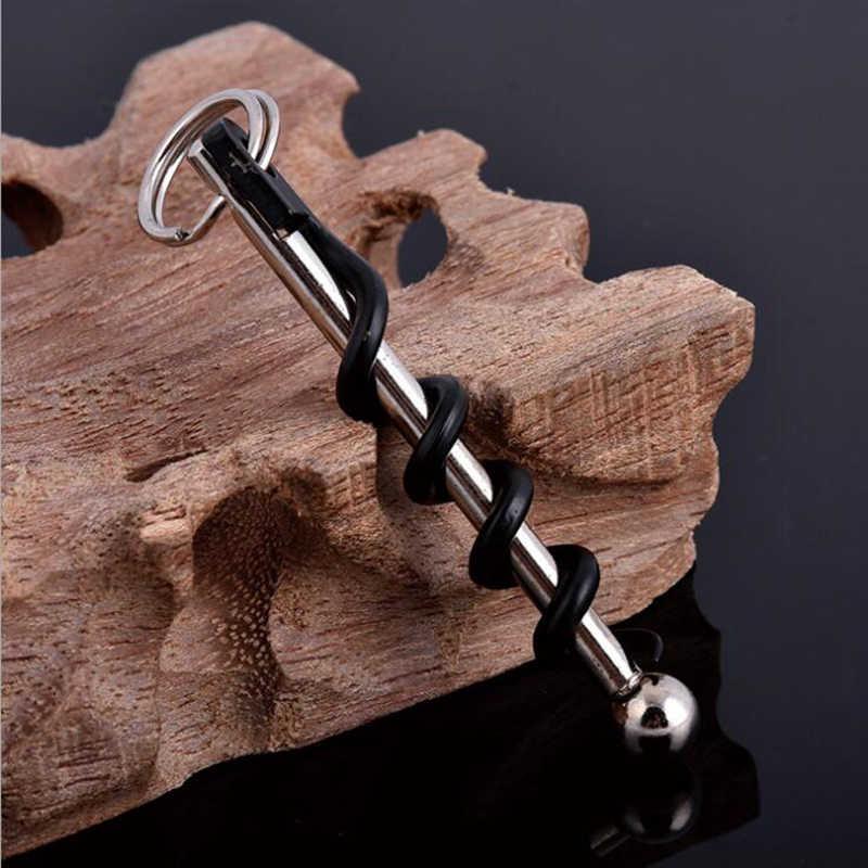 Rượu Vang đỏ EDC Xoắn Dính Corkscrew Stainless Steel Nút Chai Chai Chai Puller Opener Keyring Cắm Trại Chuyên Nghiệp Sâm Banh Stopper