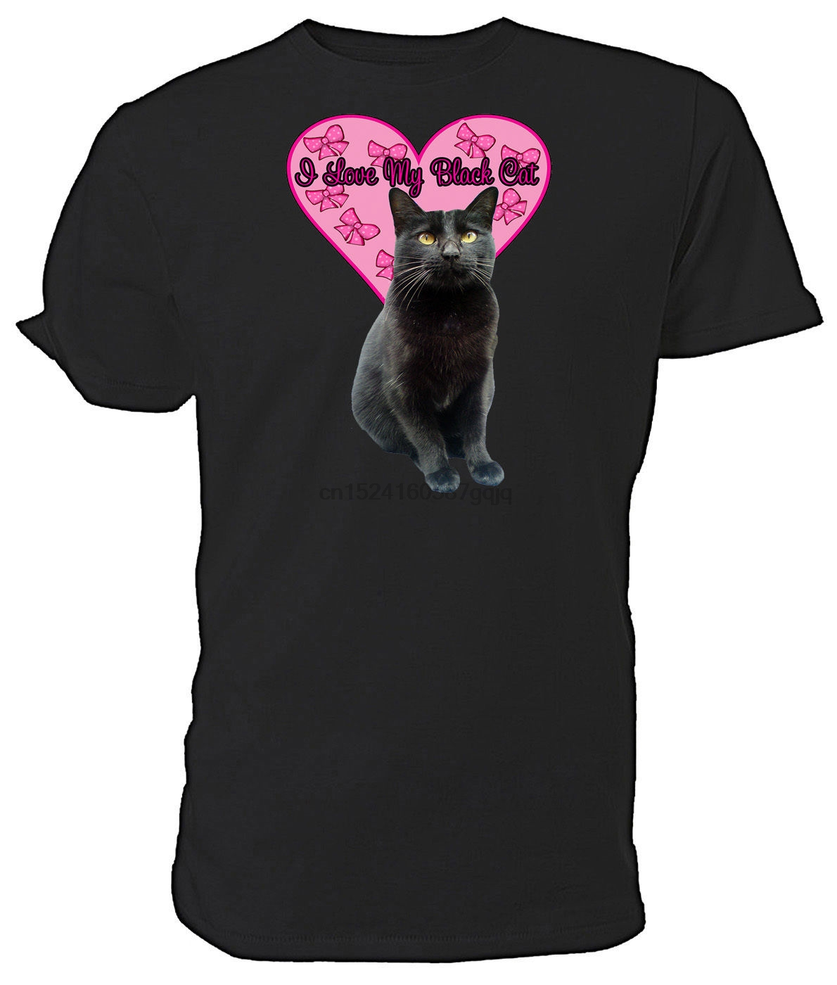 I Love My Black Cat T shirt  short sleeve round neck Choice of size &amp colours thumbnail