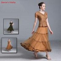 Бесплатный заказ бальных танцев костюм для взрослых эластичный шелк льда Топы + марлевая юбка 2 шт. комплект для Для женщин Бальные Вальс оде