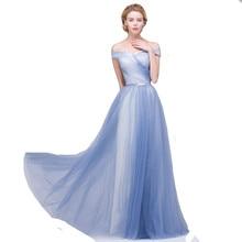 Long Tulle Bridesmaid Dress A-line Off Shoulder Women Formal Dress Lace-up
