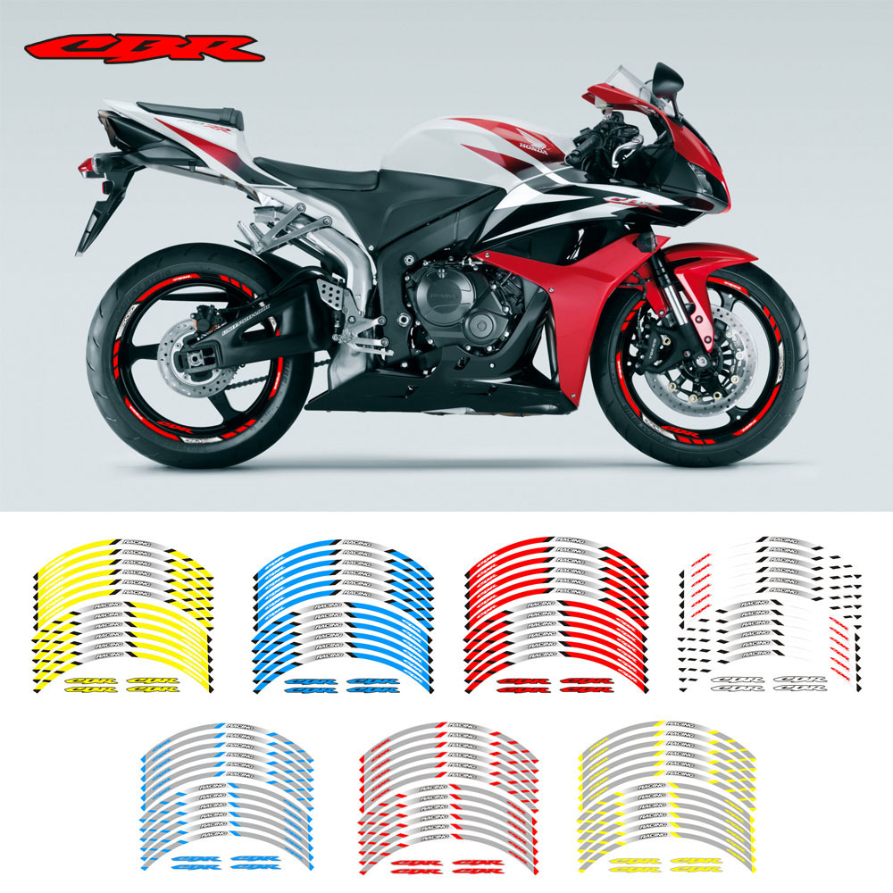 Motorcycle Front And Rear Wheels Edge Outer Rim Sticker Reflective Stripe Wheel Decals For Honda CBR