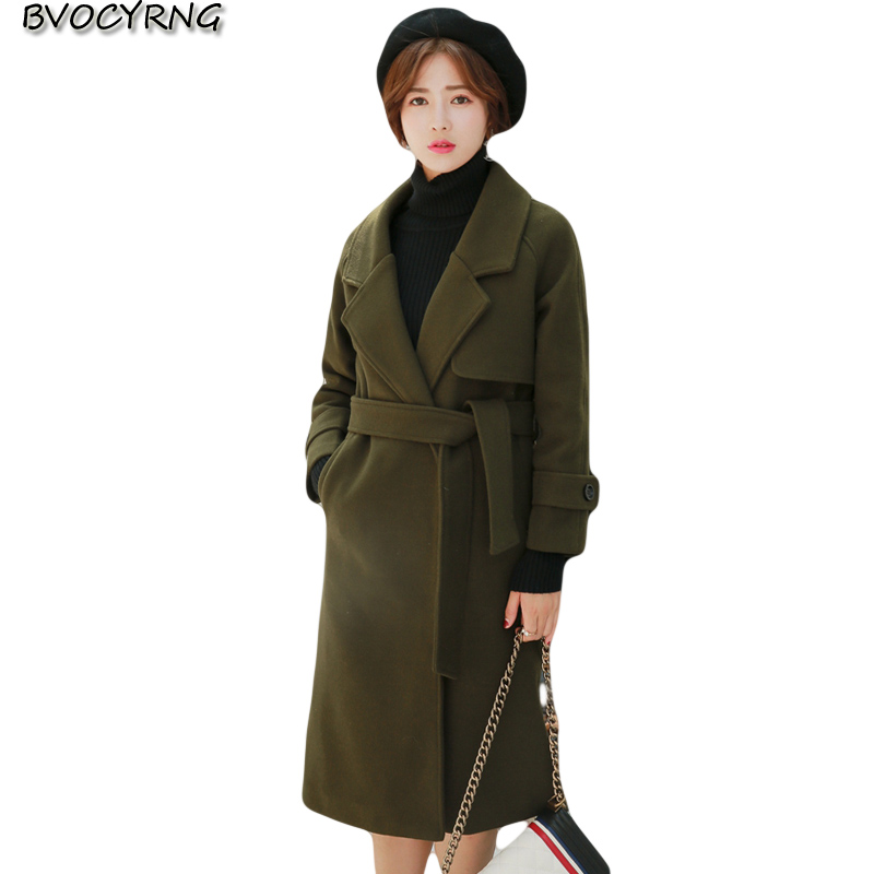 2017New Hot Winter Women Cloth Coat Pure Color Thickening Long Woolen Cloth Parka Fashion Leisure Jacket Slim Outerwear Q931