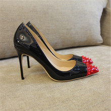 Free shipping fashion women Pumps lady Black red toe studded spikes Pointy high heel shoes size33-43 12cm 10cm 8cm Stiletto