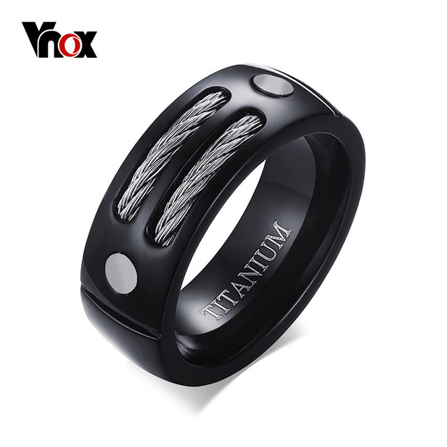 VNOX Stylish Black 100% Titanium Ring Men 8MM Unique Male Rings with Huia WIA De