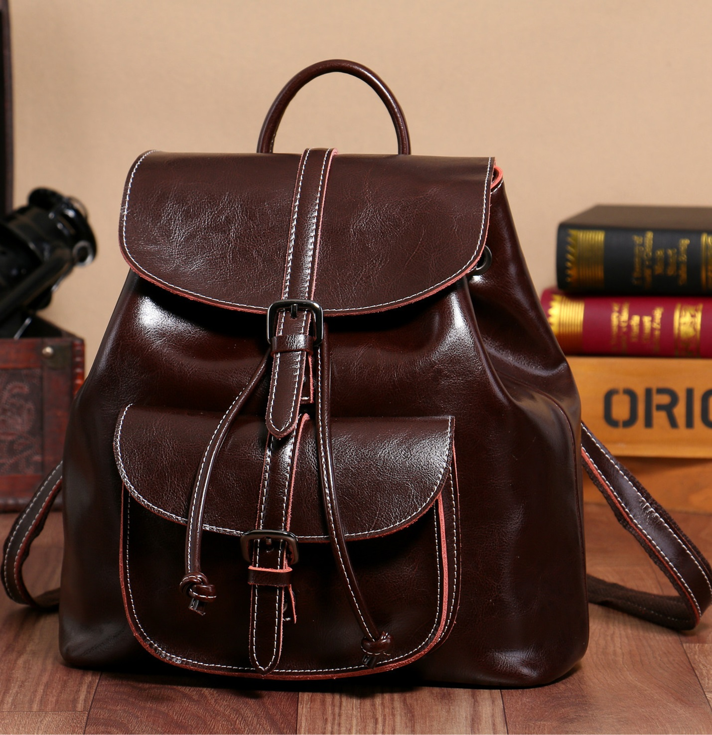 9912-D New Fashion oil wax leather Pocket bag Lady Shoulder Bag pumping with closing Clamshell bucket bag Women Leather Backpack hot sale women s backpack the oil wax of cowhide leather backpack women casual gentlewoman small bags genuine leather school bag