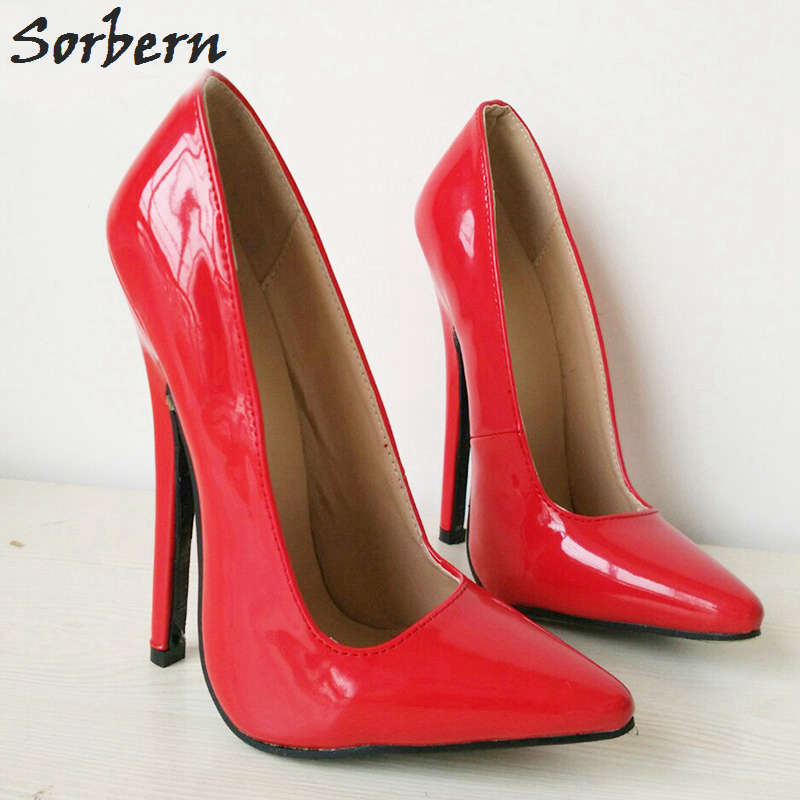 Sorbern 18cm Women Pumps High Heels Pumps Women Shoes Patent Leather Pointed Toe Custom Color Slip On Plus Size Pumps Shoes women high heels plus size 32 42 sexy office pointed toe wedges shoes slip on women pumps fashion mixed color ladies shoes