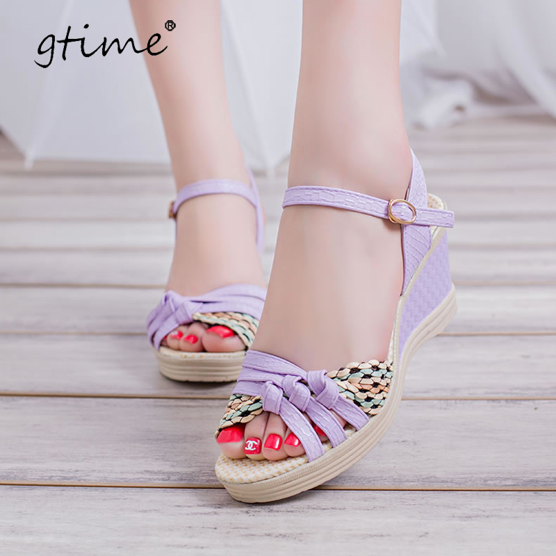 Gtime Female Sandals Wedges Platform Casual-Shoes Open-Toe ZWS246