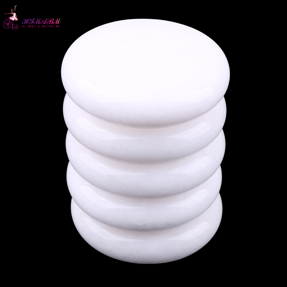 HIMABM 5 Pieces 7 7cm White jade SPA Hot Stone Massage Basalt Rocks Basalt Stone Oval Shape New Mini set Cold Lava Natural in Massage Relaxation from Beauty Health