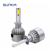 2pcs Set SUNKIA High Bright C6 72w 7600LM H1 Car LED Headlight Car Styling 8 48V