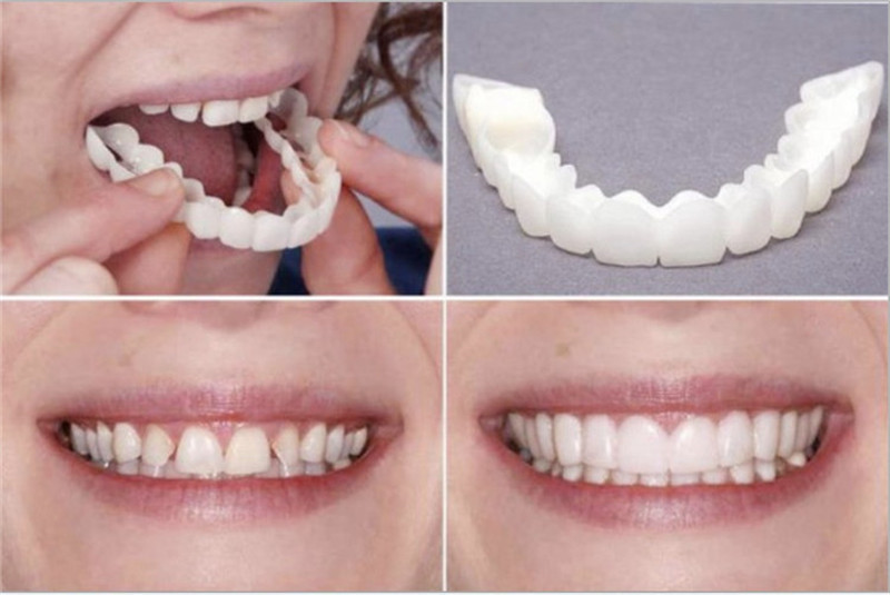 Natural Cosmetic Fake Tooth Cover Snap On Silicone Perfect Smile Veneers Teeth Upper Beauty Tool Teeth for Men Women