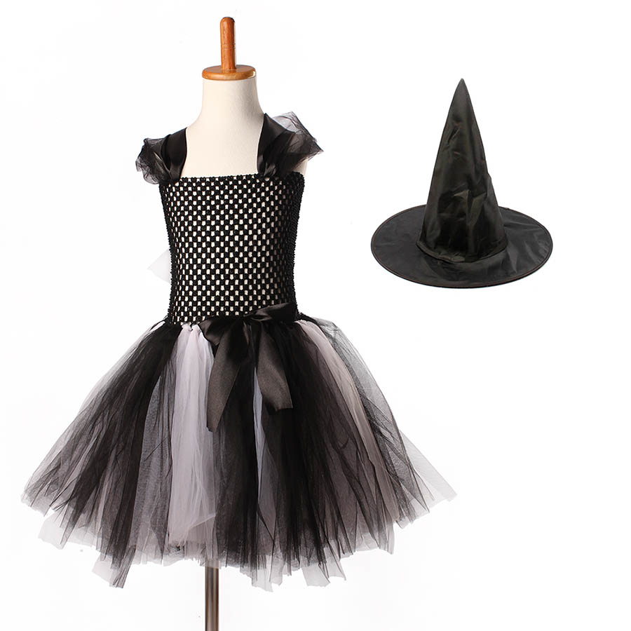 Girls Halloween Carnival Party Tutu Dress Kids Evil Witch Costume Photo Prop with Witch Hat  (15)