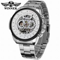 2016 WINNER Fashion Design Black Mechanical Watch Steel Automatic Watch Men Black Stainless Steel Band Business
