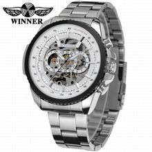 2016 WINNER Fashion Design Black mechanical Watch Steel Automatic watch men black stainless steel band business Relogio Male